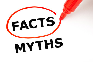 Facts Myths Concept Red Marker