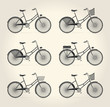 Vector illustration of ladies vintage bicycle - 78512418