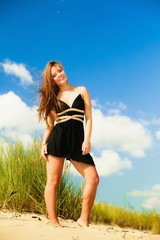 Happy woman beach holiday