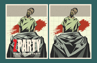 Zombie party invitation template.