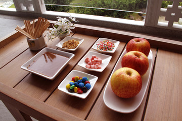 Sweet caramel apples and Topping