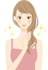 美容 ヘアケアをする笑顔の女性