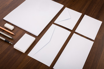 Blank Template. Consist of Business cards, letterhead a4, pen, e