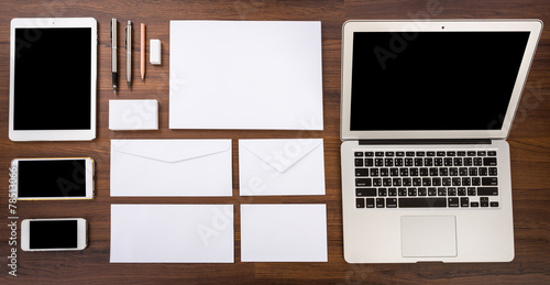 Blank Template. Consist of Laptop,Business cards, letterhead a4,
