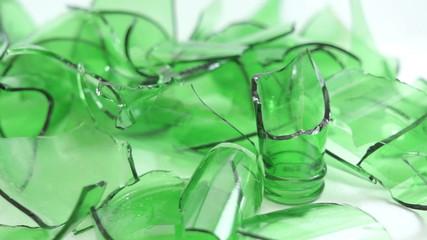 Broken Green Bottles Closeup Dolly