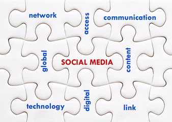 Social media words on white jigsaw puzzle background