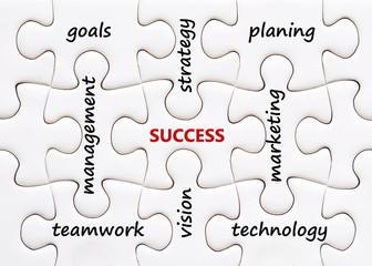 Words on jigsaw puzzle background, success in business concept