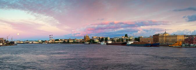 Neva river in morning. Saint Petersburg, Russia