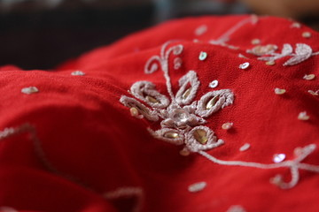 Red Fabric Embroidery