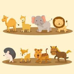 Illustration of zoo animals