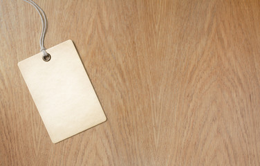 price label or tag on wooden table background