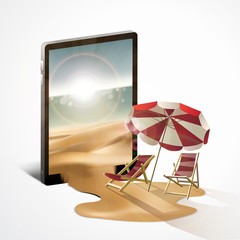 modern technology internet for summer holiday by a tablet phone