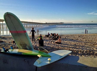 Teenagers taking Surf Lessons, Ocean Beach, San Diego, CA