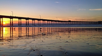 Sunset at Beach Pier, Ocean Beach, San Diego, California, USA