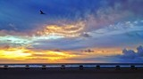 Beautiful Beach Sunset with Chairs and Umbrellas, Oceanside, CA