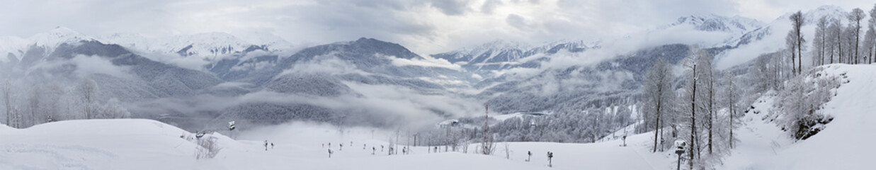 Panorama of mountains in Rosa Khutor Alpine Resort