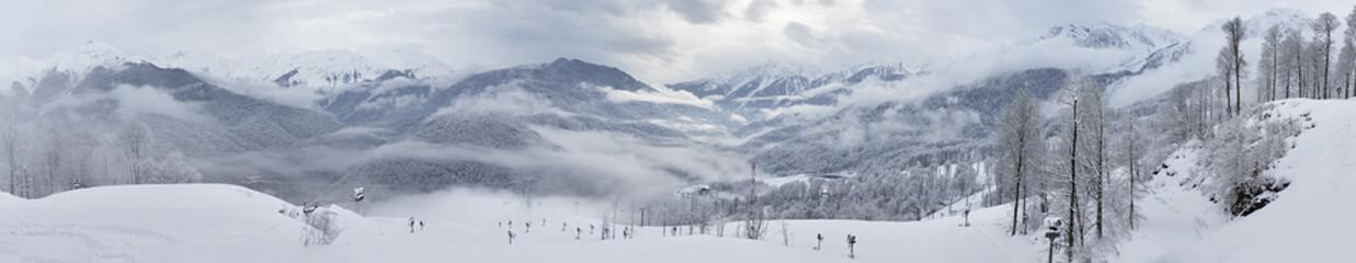 Panorama of mountains in Rosa Khutor Alpine Resort