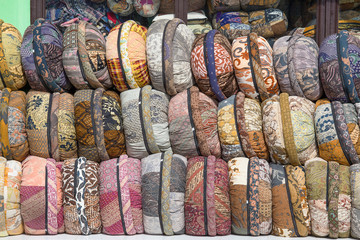 Souvenirs in the form of pillows in island Bali, Indonesia
