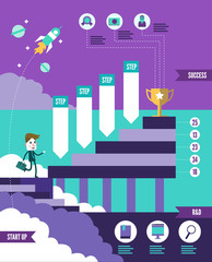Start up business to successful info graphic. flat design