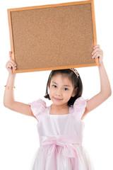Portrait of Asian little girl hold wood board on white backgroun