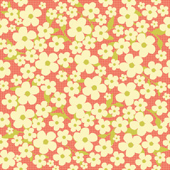 Tiny flowers cherry blossom on the grid floral seamless pattern