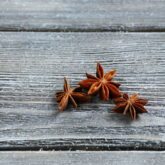 anise on wooden boards