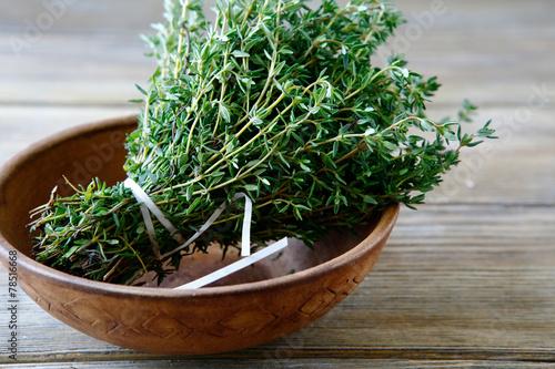 Fresh thyme in a bowl - 78516668