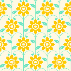 Seamless pattern with big flowers with leafs, decorative stem,