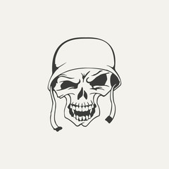 illustration of skull in helmet. Black and white style