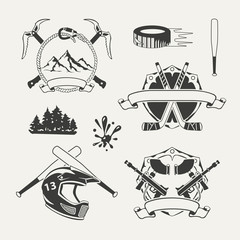 Set of extreme sports emblems, badges, labels and designed