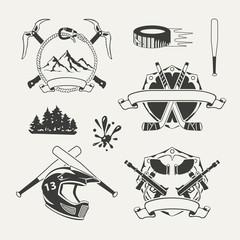 Set of extreme sports emblems, badges, labels and designed