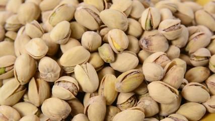 Closeup pan shot of pistachios