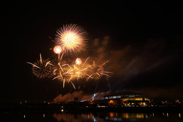 beautiful firework over stadium