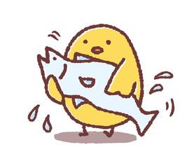 魚を抱えるヒヨコ