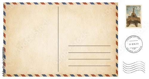 old blank postcard isolated on white with post stamps set - 78518055