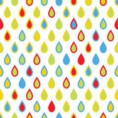 Seamless pattern with colorful drops on white background