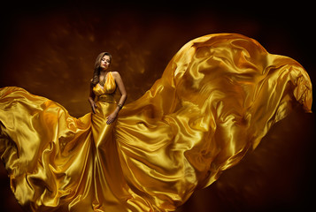 Fashion Model Woman Dress, Lady In Fluttering Silk Beauty Gown