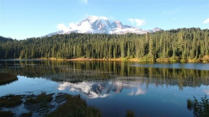 Bench Lake and Mount Rainier reflects on the water.