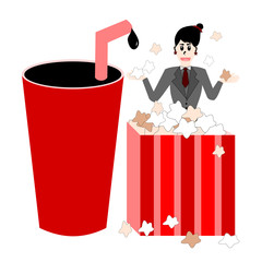 Woman In Popcorn Box And Drink, Cartoon Concept Vector