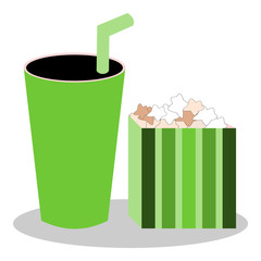 Popcorn In Box And Drink Vector