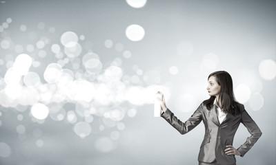 Woman using spray
