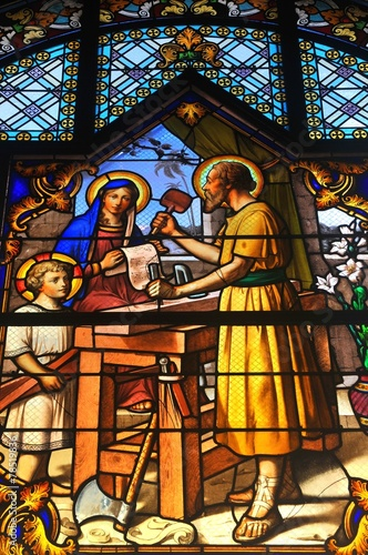 obraz PCV Stained glass depicting bible scene