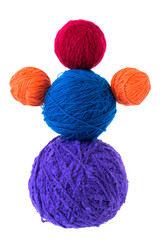 Multi-colored hanks of threads