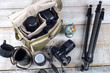 Leinwanddruck Bild - photographer camera bag and tripod