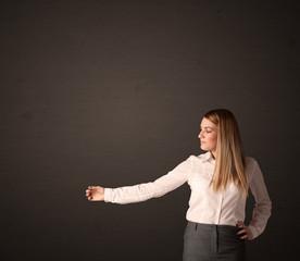 Businesswoman making gestures