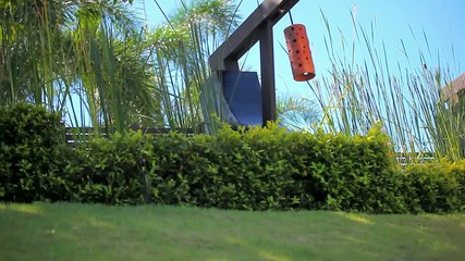 Row of Japanese lantern on sky, palm and grass background. Video