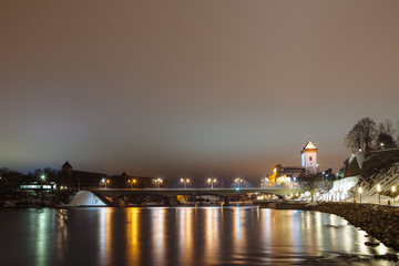Night fortress German illuminates at night, Narva, Estonia