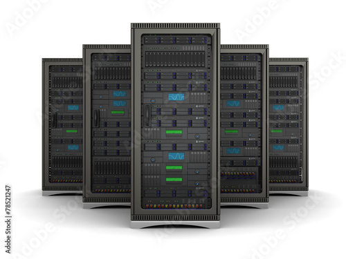 3d illustration of row the server racks