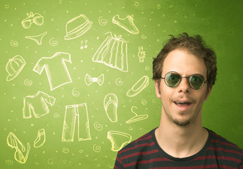 Happy young man with glasses and casual clothes icons