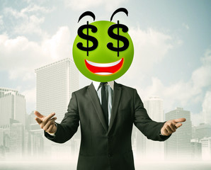 man with dollar sign smiley face